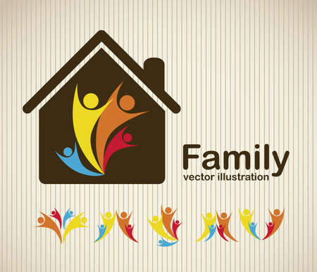 love my house: Illustration of family icons, isolated on beige background, vector illustration