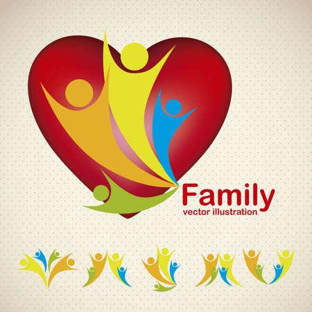 ser padres: Ilustraci�n de los iconos de la familia, aislados en fondo amarillento, ilustraci�n vectorial
