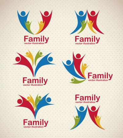 Illustration des icônes de la famille, isolé sur fond beige, illustration vectorielle
