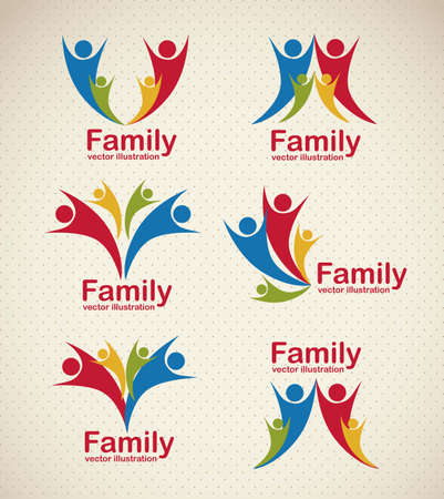 Illustration of family icons, isolated on beige background, vector illustration Stock Vector - 15792836