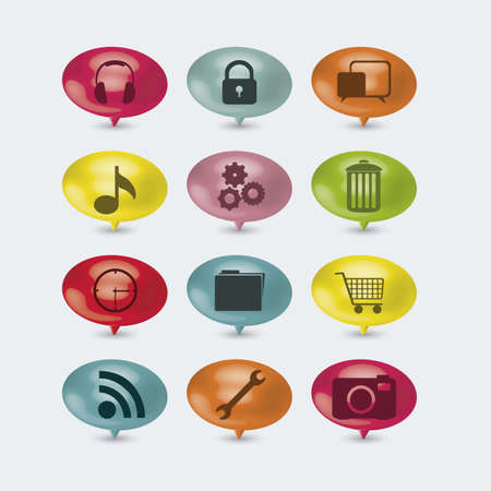 illustration of colored buttons with icons for business and social networks, vector illustration Vector