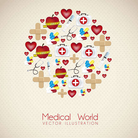 illustration of medical icons forming a planet, vector illustration Stock Vector - 15794808