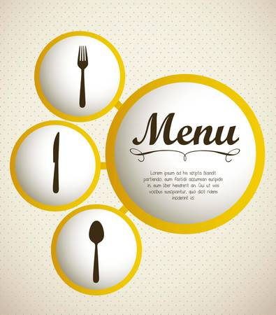 recipe: illustration of restaurant menu with cutlery, vector illustration