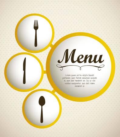menu de postres: ilustraci�n de la carta del restaurante con cubiertos, ilustraci�n vectorial