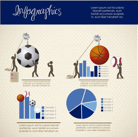 sports bar: infographics illustration of sports, with icons of people, vector illustration