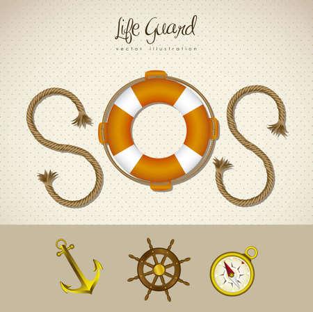 life guard: illustration of SOS icon, life guard, navigation icons, vector illustration
