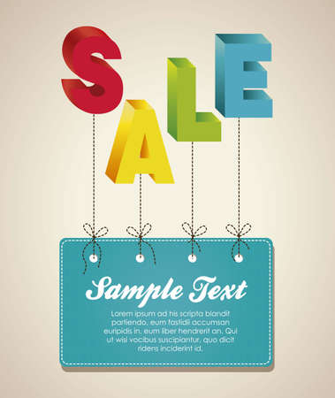 discount banner: illustration of sale word, with colorful 3D letters