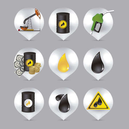 rig: illustration of icons on the  petroleum industry, vector illustration