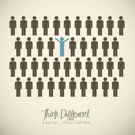 människor: Illustration av människor ikoner, tänka annorlunda, vektor illustration