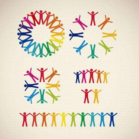 illustration des icônes de personnes, le travail d'équipe, illustration vectorielle