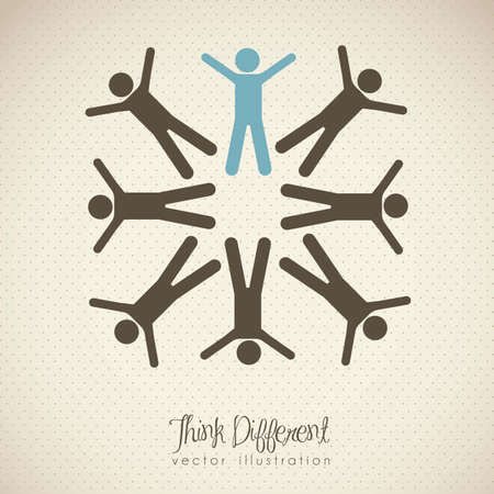 different shapes: illustration of people icons, teamwork and think different, vector illustration