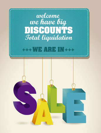 hanging out: illustration of sale, with colorful 3D letters Illustration