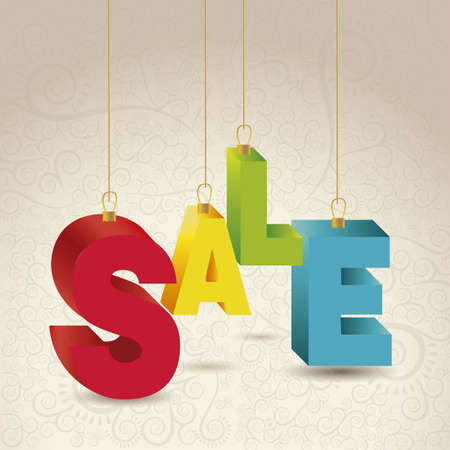 illustration of sale, with colorful 3D letters Vector
