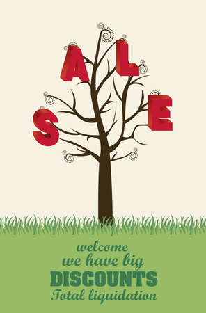 illustration of sale tree, with colorful 3D letters, vector illustration Stock Vector - 15889722