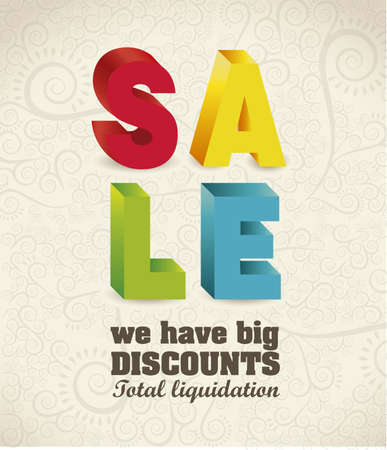 illustration of sale, with colorful 3D letters, vector illustration Stock Vector - 15889597