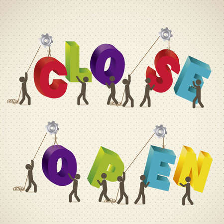 illustration of icons of people forming words with colorful letters 3D, Open and Close, illustration Vector