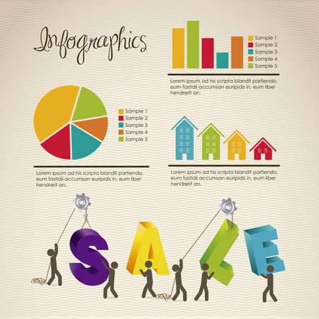 infographics illustration of sale with icons of people, vector illustration Vector