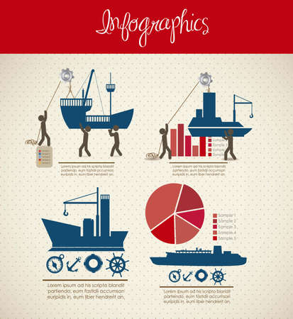 infographics illustration of transportation icons with icons of people, vector illustration Vector