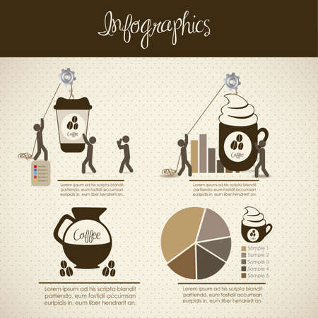 infographics illustration of coffee icons with icons of people, vector illustration
