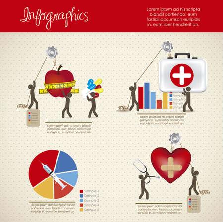 simbolo medicina: infograf�a ilustraci�n de iconos de la medicina con los iconos de la gente, ilustraci�n vectorial Vectores