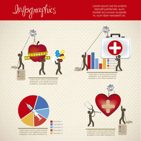 visual aid: infographics illustration of medicine icons with icons of people, vector illustration Illustration