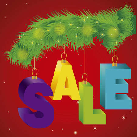 illustration of christmas sale, with colorful 3D letters 向量圖像