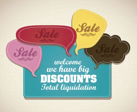 illustration of sale, with colorful text balloons, vector illustration Stock Vector - 15889526