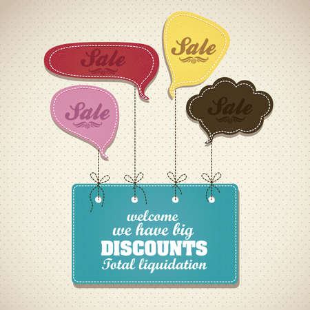 discount banner: illustration of sale, with colorful text balloons, vector illustration Illustration