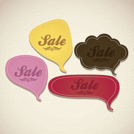 illustration of sale, with colorful text balloons, vector illustration Vector