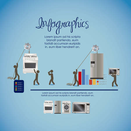 microwave ovens: infographics illustration of appliances, with icons of people, vector illustration