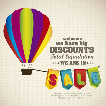 illustration of sale labels, with colorful 3D letters, hanging out of an air balloon Stock Vector - 15889624