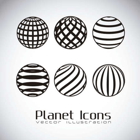 gray matter: illustration of planet earth icons, in gray background, vector illustration Illustration
