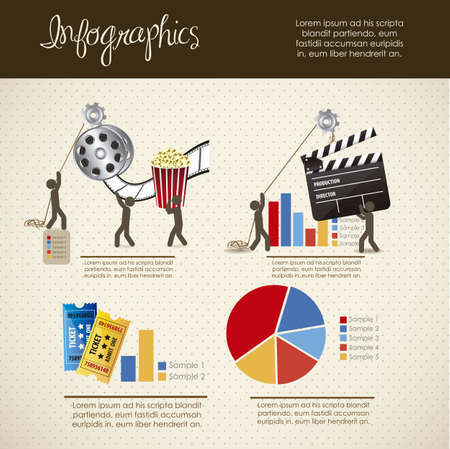infographics illustration of cine and movies, with icons of people, vector illustration Illustration