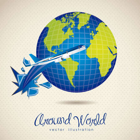 big break: illustration of planet earth icon with air plane, in dotted background