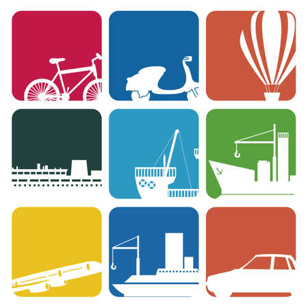 Illustration of transportation icons colore boxes, vector illustration Vector