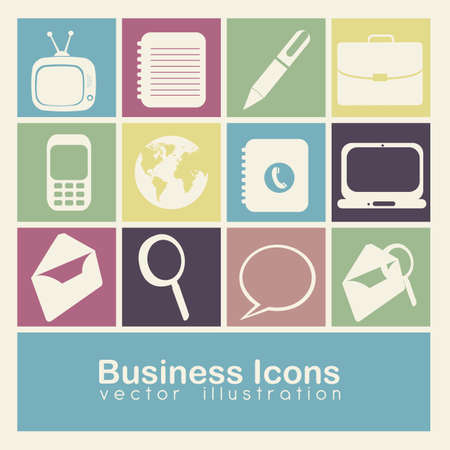 Illustration of business icons colore boxes Vector