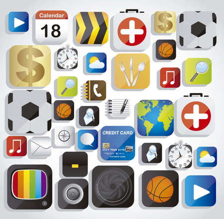 Illustration of application icons in colored squares Vector
