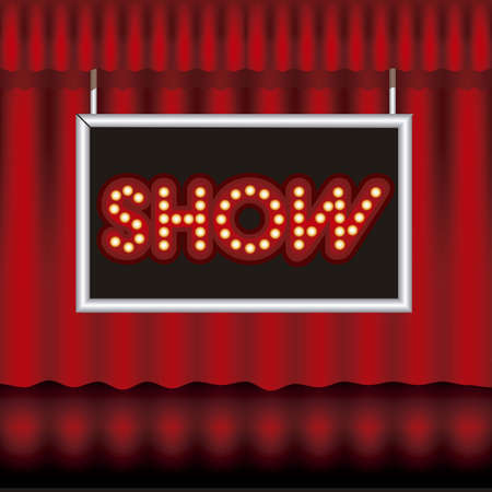 Illustration of showbiz, lettered sign with bulbs and red curtain. Stock Vector - 16126280
