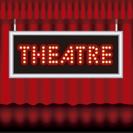 featuring: Illustration of showbiz, lettered sign with bulbs and red curtain. Illustration