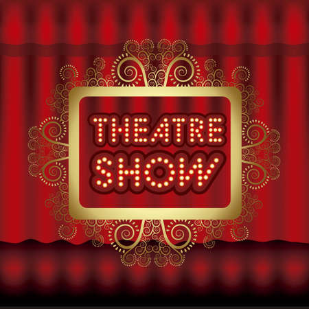 Illustration of showbiz, lettered sign with bulbs and red curtain. Stock Vector - 16126418