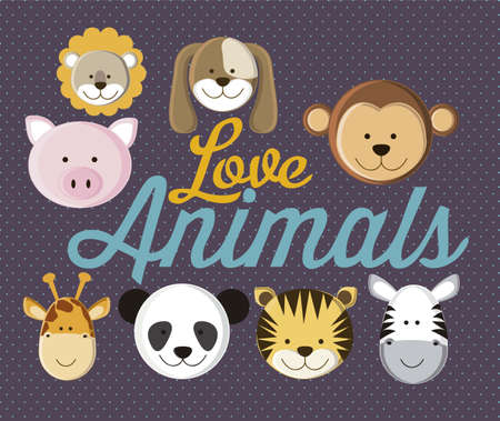 Illustration of animal icons illustration of giraffe, rabbit, squirrel, horse, mule, panda, tiger, pig, dog.  Vector
