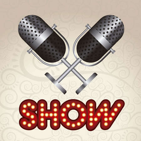 showbiz: Illustration of showbiz, lettered sign with bulbs and red curtain. Illustration