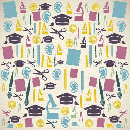 world class: Illustration of school icons, student icons, back to class.  Illustration