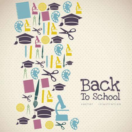 Illustration des icônes de l'école, des icônes, des étudiants retournent en classe.