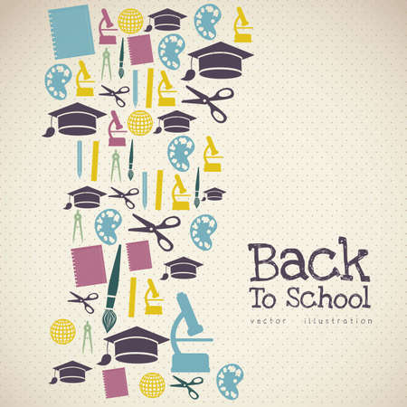 school activities: Illustration of school icons, student icons, back to class.  Illustration