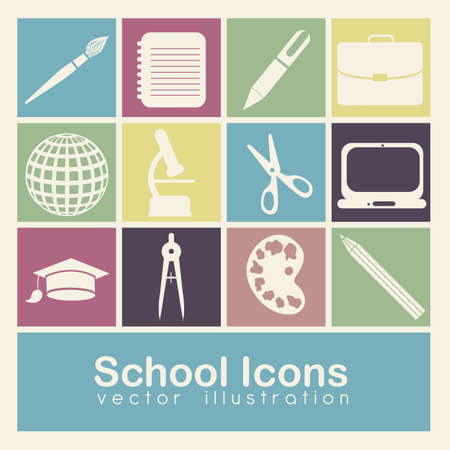 Illustration of school icons, student icons, back to class.  Stock Vector - 16126129