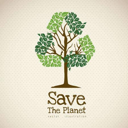 Ilustración de reciclaje con los iconos ecológicos, salvar el planeta.
