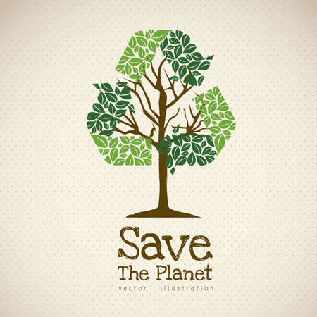 Illustration of recycling with ecological icons, Save the Planet. Vector