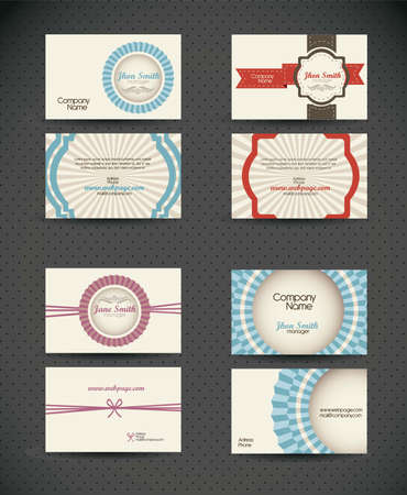 Illustration of Business Card retro, with vintage colored lines. Vector