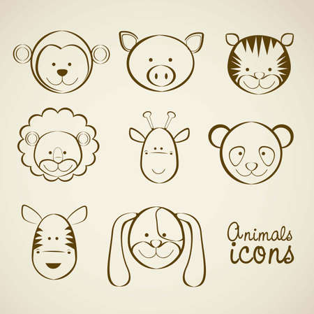Illustration of animal icons illustration of giraffe, zebra, monkey,  panda, tiger, pig, dog, lion. Vector